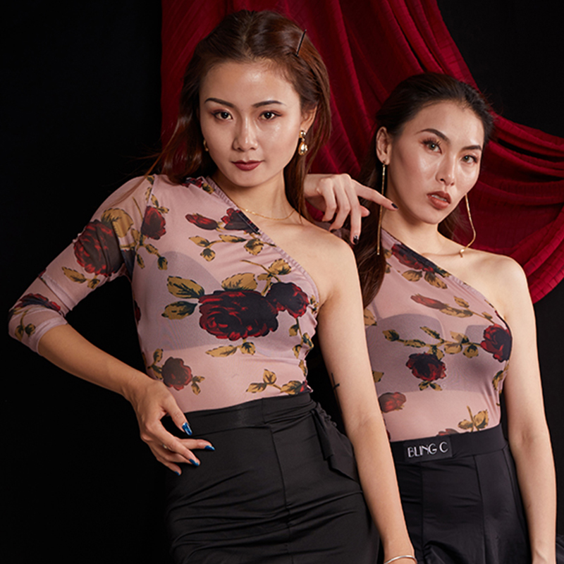 Latin Dance Shirts Fashion Sexy Print Leotard Female Adult Tango Cha Cha Rumba Samba Clothing Lady Practice Show Wear DNV12248