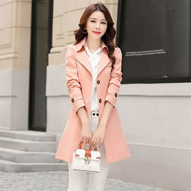 Spring Autumn Trench Coat Slim Single Breasted Trench Coat  Woman Trench Coat Long Women Windbreakers Plus Size 5XL Women  Coats