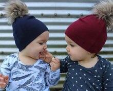 Шапка бини Зимняя Вязаная хлопковая для мальчиков и девочек