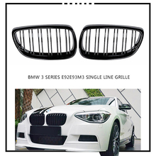 Tefanball A Pair Gloss Black Car 2 Slat Line Front Kidney Grille Grills For BMW E92 E93 3-Series M3 Coupe Convertible 2006-2009 электромобили hebei bmw 2 series coupe