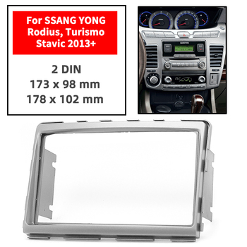 Double Din Radio Fascia for SSANG YONG Rodius/Turismo/Stavic 2013+ Panel Dash Mount Installation Trim Kit Face Gray Frame GPS image