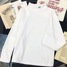 Autumn Women Fleece Planet Embroidered T Shirt Female Half High Collar T-shirt Women Fashion Long Sleeve Casual Bottoming Tops trendy jewel collar half sleeve flower print t shirt for women