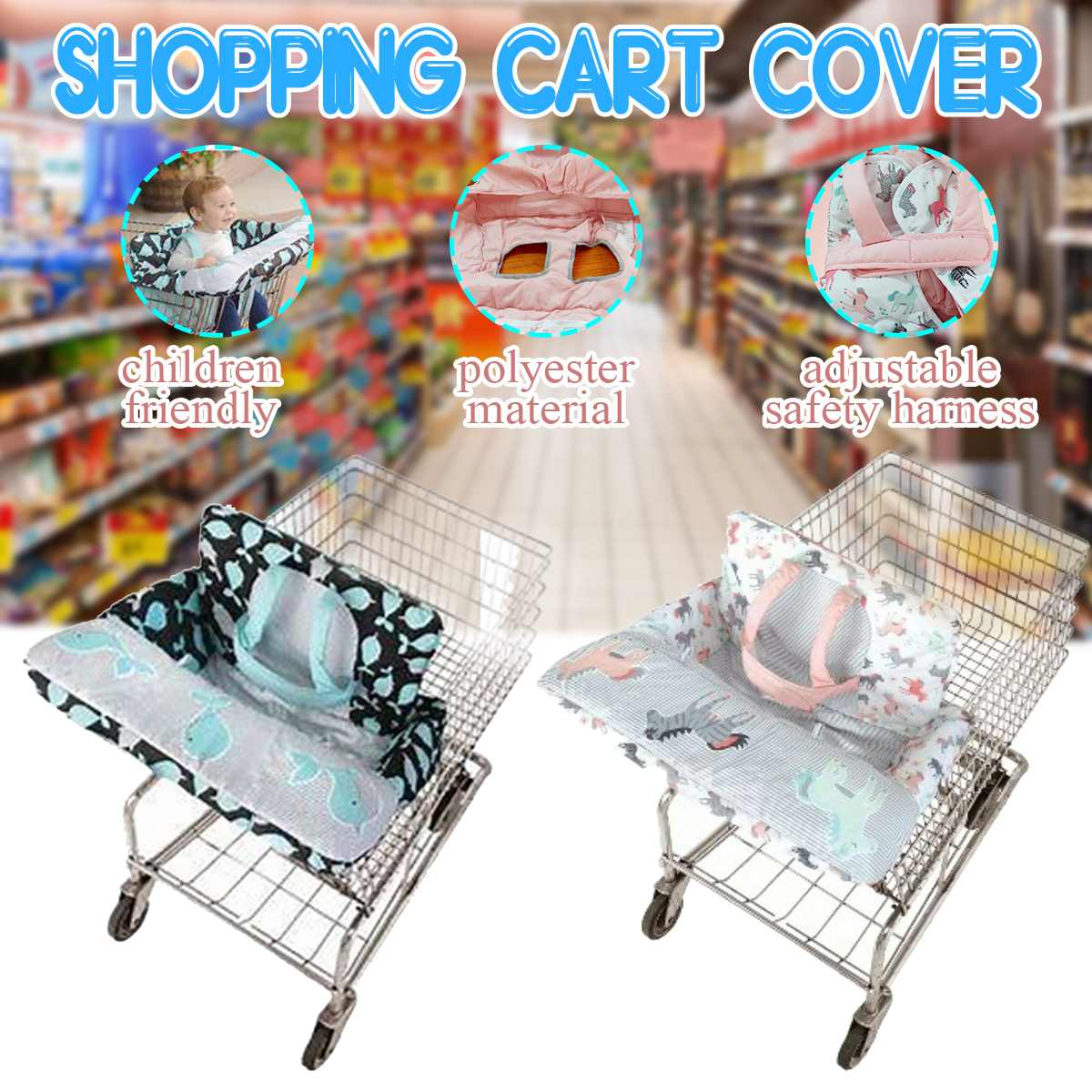 Baby Kid Portable Shopping Cart Cover Pad With Adjustable Safety Harness Baby Shopping Push Cart Protection Cover Safety Seats