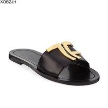 Italian luxury summer Flat Sandals women Designers 2019 Black Brand Logo Genuine Leather Slippers Shoes Woman G sandals