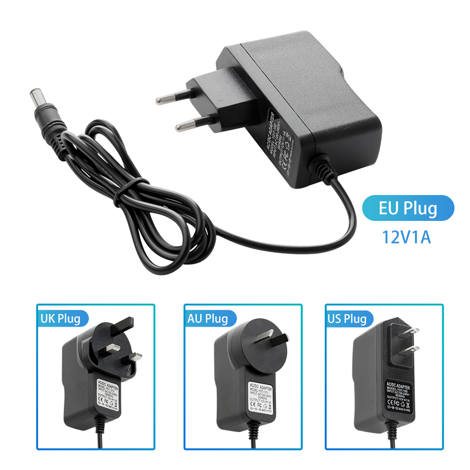 Techage AC 100-240V DC 12V 1A 1meter AC/DC Power Adapter Charger Power Adapter For CCTV IP Camera 2.1mm * 5.5mm
