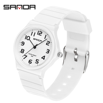 SANDA Casual Watch Women Life Waterproof Quartz Watch Sport Fashion Round watch Leather Band Analog Female Clock montre femme 2016really cheap geneva fashion unisex leisure dial leather band analog clock hour quartz wrist watch for men women montre femme