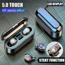 블루투스 5.0 이어폰 9D 스테레오 음악 스포츠 무선 헤드폰 마이크 헤드셋 2000 mAh 보조베터리 아이폰 삼성