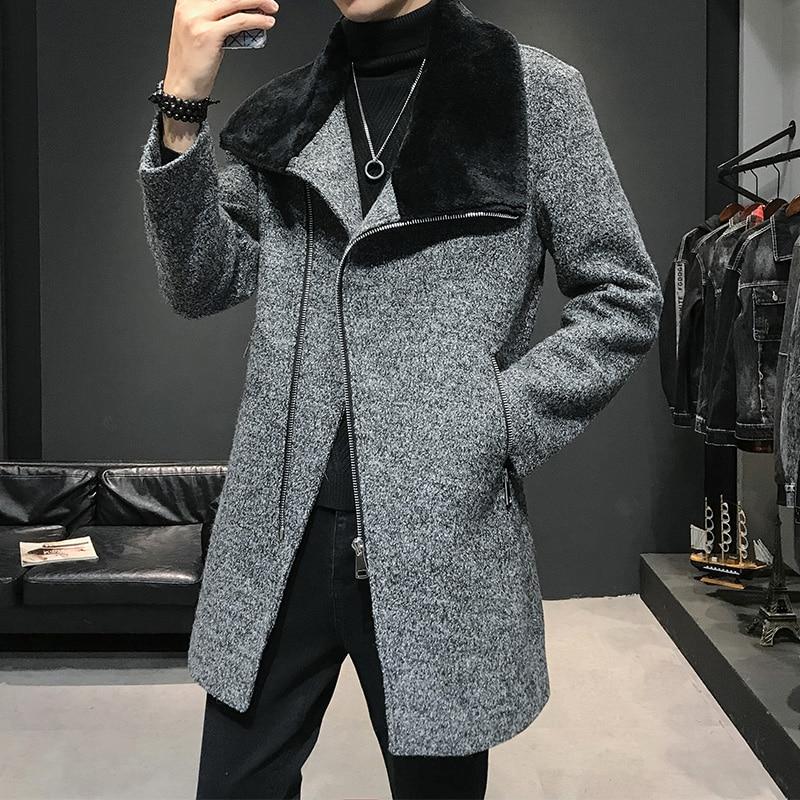 Men Winter Wool Trench Coat Men Long Casual Coats Casual Mens Overcoat Fur Collar Keep Warm Fashion Jackets Black Gray Clothing
