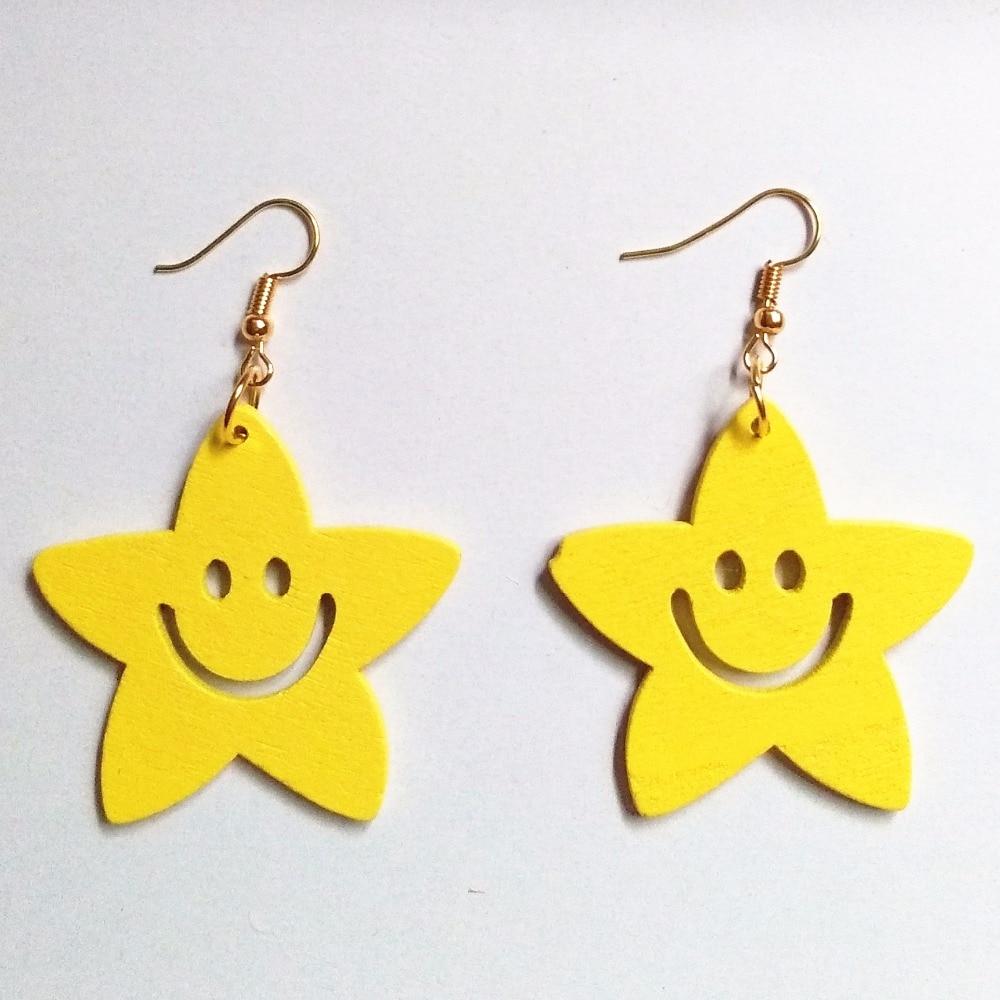 Wood Love Star Drop Earrings Women Drop Earrings Fashion Jewelry Eardrop Personality Hollow Hoop Earrings