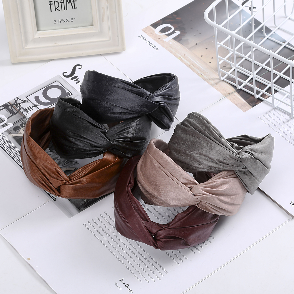 Fashion Leather Headband Solid Color Widen Hair Accessories For Women Cross Bezel Hair Band Exquisite Hand Made Hair Hoop