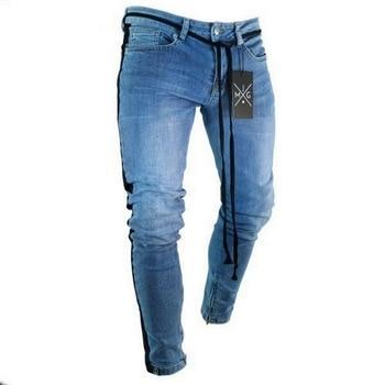 Skinny Jeans Men Hip Hop Stripe Elastic Slim Fit Denim Pants Male Stretchy Pencil Bottoms Street Knee Ripped Holes Jean
