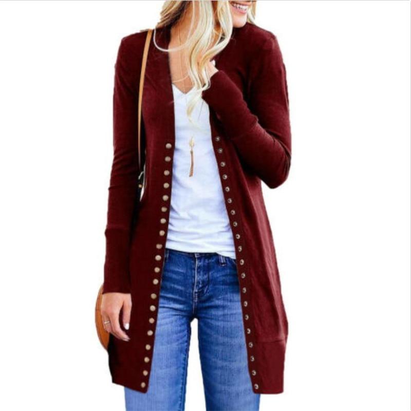 Women Plus Size Autumn Long Cardigan Sweater Coat Winter Clothes Women Ladies Long Sleeve Slim Knitted Cardigan Outwear
