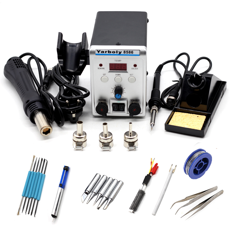 Yarboly 8586 Soldering Station 2 In 1 BGA Rework SMD Hot Air Heat Gun Eletric Soldering Iron 220V 700W Welding Repair Tool Kit
