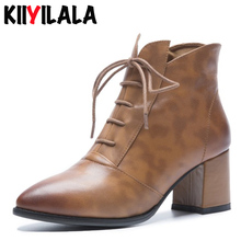 цены Kiiyilala New Genuine Leather Chelsea Boots Women Cross-tied Ankle Boots Pointed Toe Zipper Square Heels Womens Boots Big Size