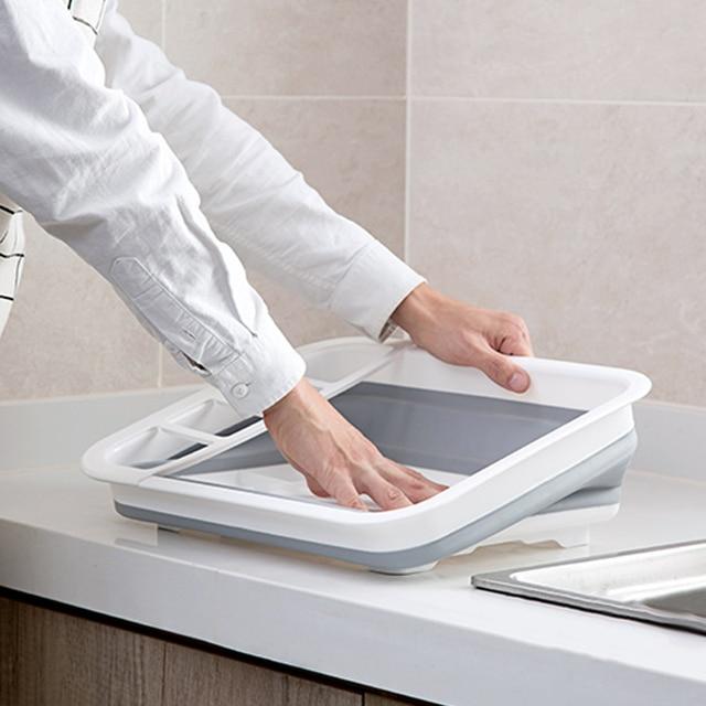 Foldable Dish Rack Kitchen Drainer Tool Bowl Tableware Plate Storage Organizer Holder Portable Fold Drying Home TPR Rack Shelf 3