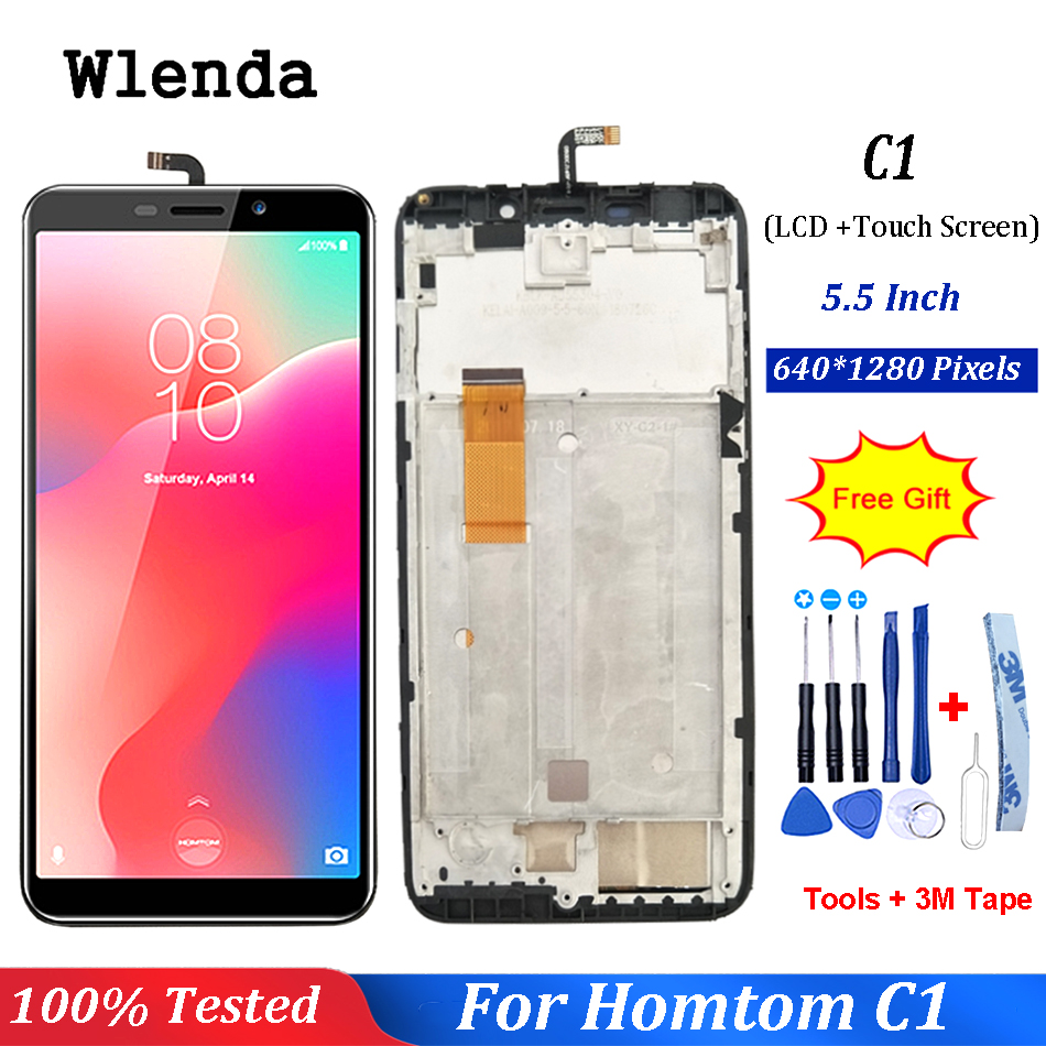 """5.5""""inch For Homtom C1 / C2 LCD Display With Touch Screen Sensor Digitizer Assembly With Frame + Free Tools Tape For Homtom c1(China)"""