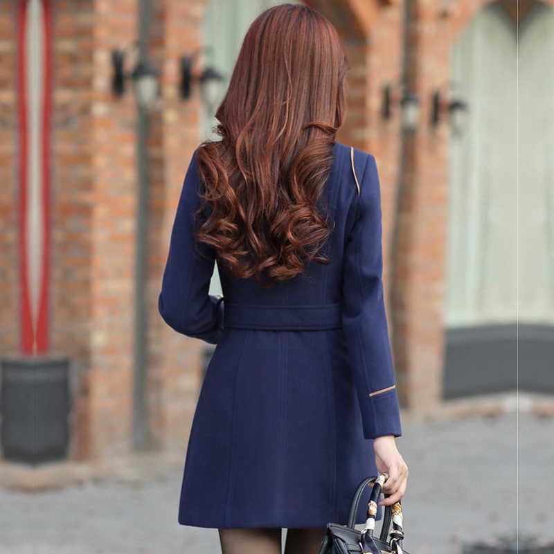 プラスサイズの女性のウールブレンド暖かいミディアムロングトレンチコート春冬の女性のスリムダブルブレストベルトウールのオーバーコート