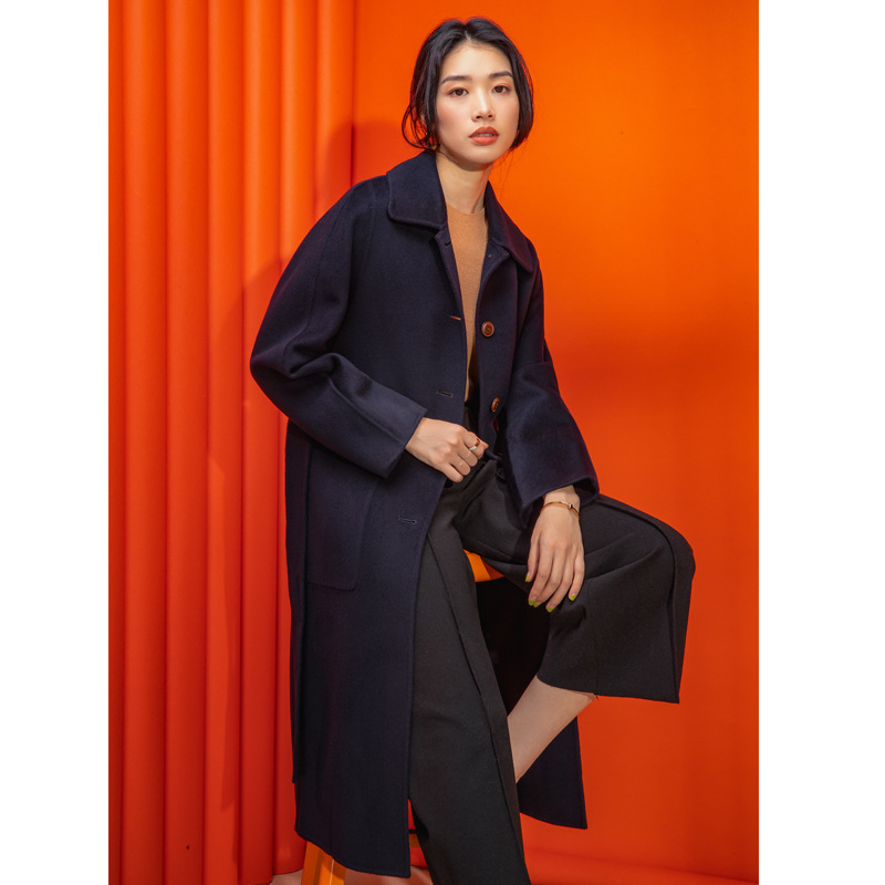 Shuchan High Quality Woman Coat Winter 2019 50% Cashmere+50% Wool Warm Coats And Jackets Women Single Breasted Adjustable Waist