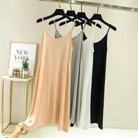 Women Summer Dress Fashion Sleeveless plus size dress women's 2020 Solid Spaghetti Strap Casual Modal party dress O-Neck Vestido