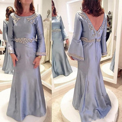 Saudi Arabia Satin Evening Gowns Long Sleeves Mermaid Mother Of The Bride Prom Dresses Backless Appliques Beads Mother Dress Cus