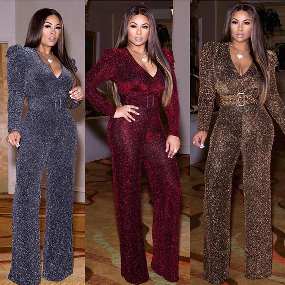 Высокоэластичный нейлоновый Блестящий Золотой Повседневный женский комбинезон с V образным вырезом и длинным рукавом, комбинезон с широкими штанинами, вечерние комбинезоны, африканская одежда|Африканская одежда| | АлиЭкспресс