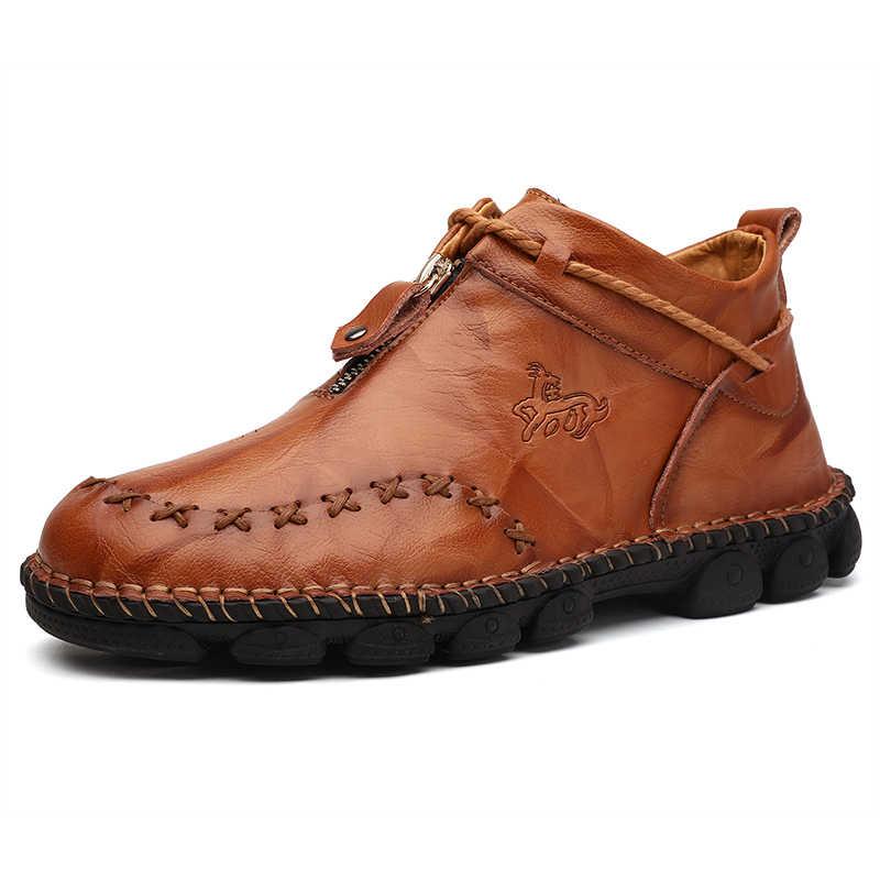Hoge Kwaliteit Echt Leer Mannen Laarzen Mode Rits Schoenen Mannelijke Koe Lederen Man Bruine Enkellaarzen Herfst Plus Size 38 -48