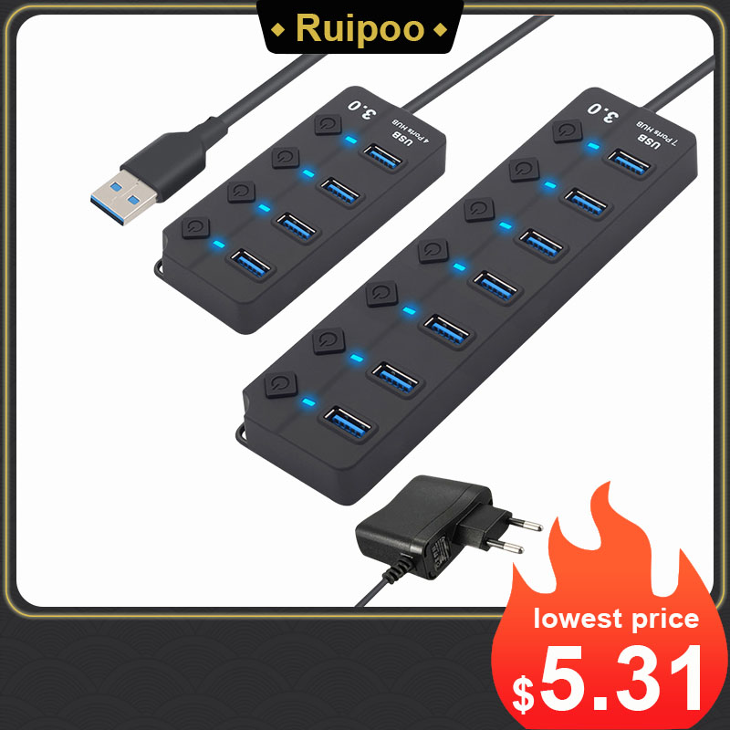 USB Hub 3.0 High Speed 4 / 7 Port USB 3.0 Hub Splitter On/Off Switch with EU/US Power Adapter for MacBook Laptop PC HUB USB 3.0