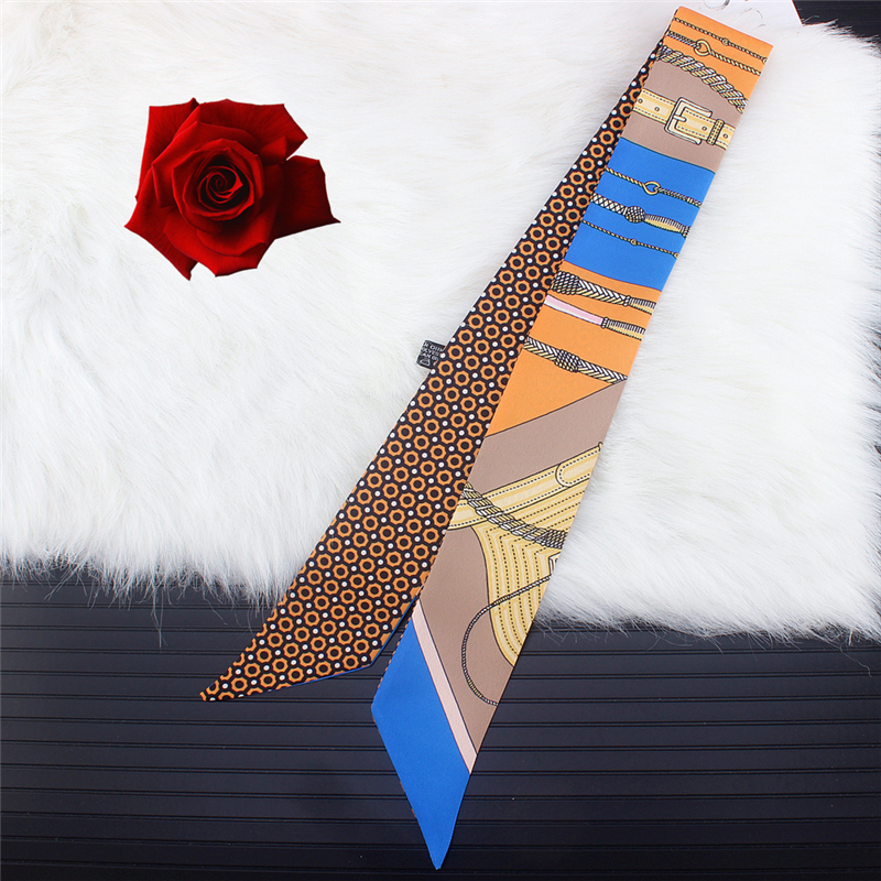 2020 New Summer Long Silk Skinny Scarf Bag Handle Design Tie Women Ribbon Scarfs Hair Band Fashion Print Headwear Neckerchief