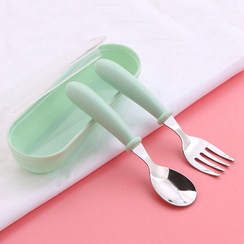 3 шт. детская ложка, вилки, коробка для детей из нержавеющей стали, детские столовые приборы, портативная посуда для кормления детей, детские ложки, набор детской посуды - Цвет: 1