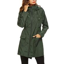Women Fashion Long Sleeve Hooded Raincoat Windbreaker Ladies Casual Loose Waterproof Trenchcoat Drawstring with Pocket Autumn