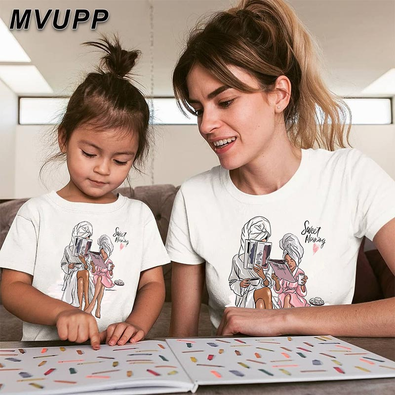 Mom Mum Baby Kids Clothing Mother Daughter Baby Girl Clothes Look Tshirt Cartoon Print Mommy And Me Sister Summer Look Shein Hot Matching Family Outfits Aliexpress