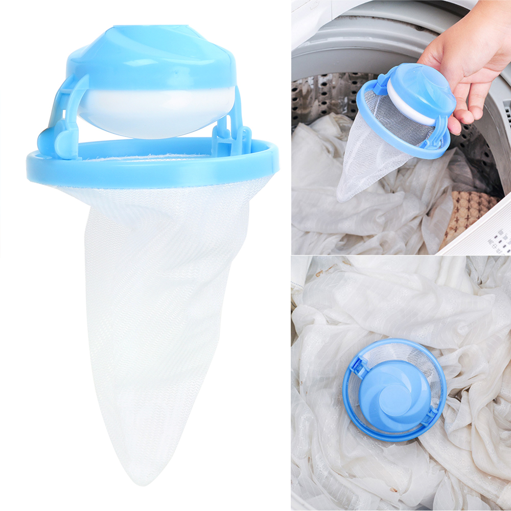 Random Color Mesh Pouch Cleaning Clothes Ball Washing Machine Hair Remover Floating Lint Catcher Laundry Filter Bag