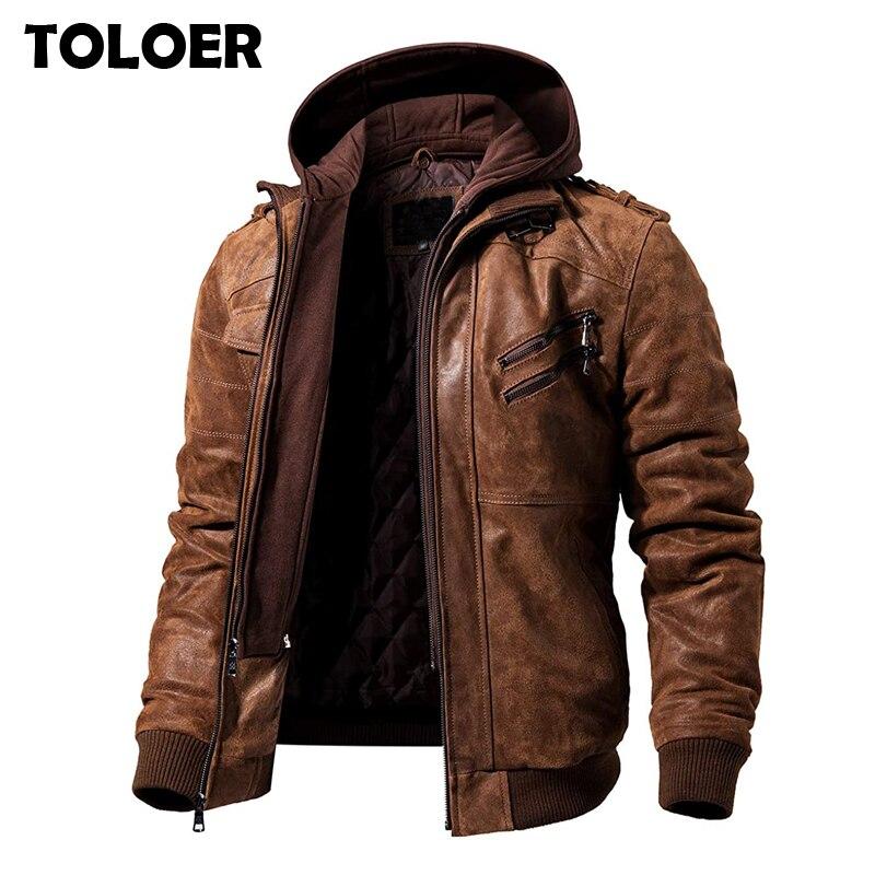 Мужские Куртки из искусственной кожи с капюшоном, модные мотоциклетные Байкерские Куртки из искусственной кожи, мужские классические зимние куртки, одежда больших размеров 4XL 5XL Куртки из искуственной кожи      АлиЭкспресс