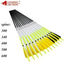 12 個linkboyアーチェリーカーボン矢ID6.2mm Spine300 600 5 インチ羽の矢印アクセサリー化合後ろに反らす伝統的な弓狩猟