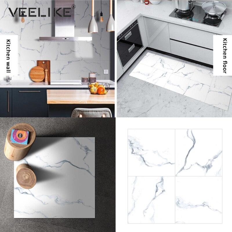 PVC Waterproof Marble Floor Tile Decals Vinyl Self Adhesive Film Non-Slip Floor Stickers Bathroom Living Room Decor Wall Sticker 1