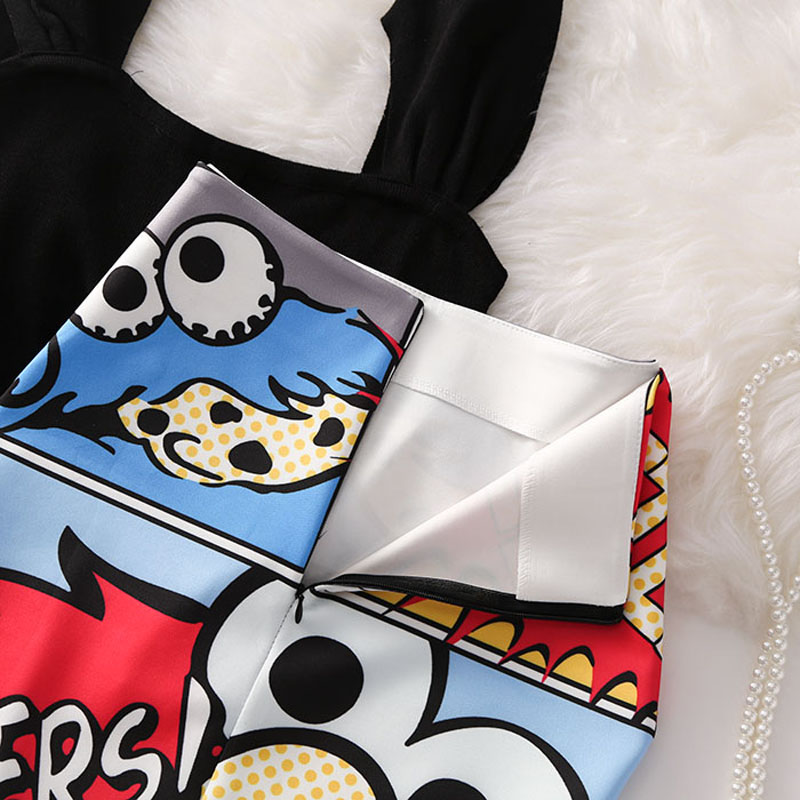 Image 2 - Women's high waist slim cartoon letter print bag hip bodycon Tube skirt summer knee high elastic pencil skirts Falda WA525-in Skirts from Women's Clothing
