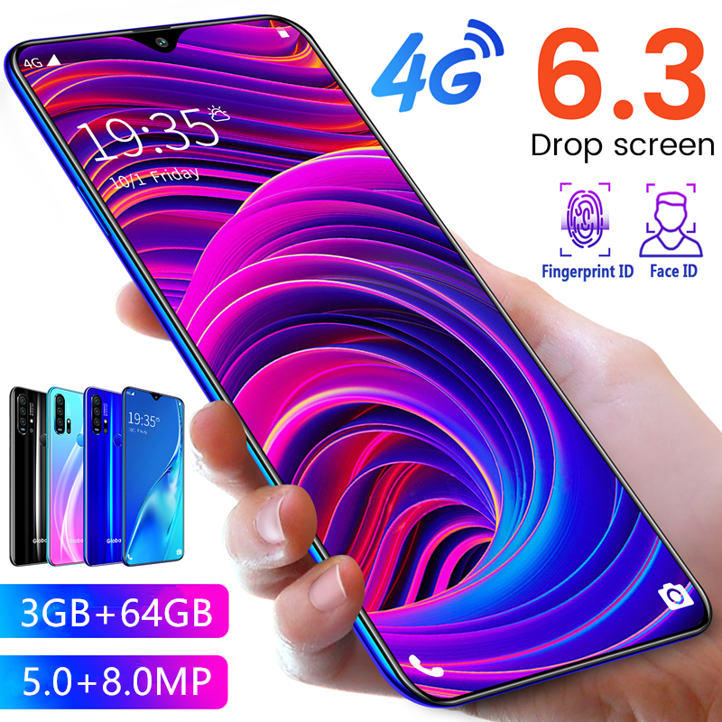R30 Pro Smartphone Android 4G Cellphones 6.3 Inch Dual Sim Unlocked Mobile Phone Water Drop Screen