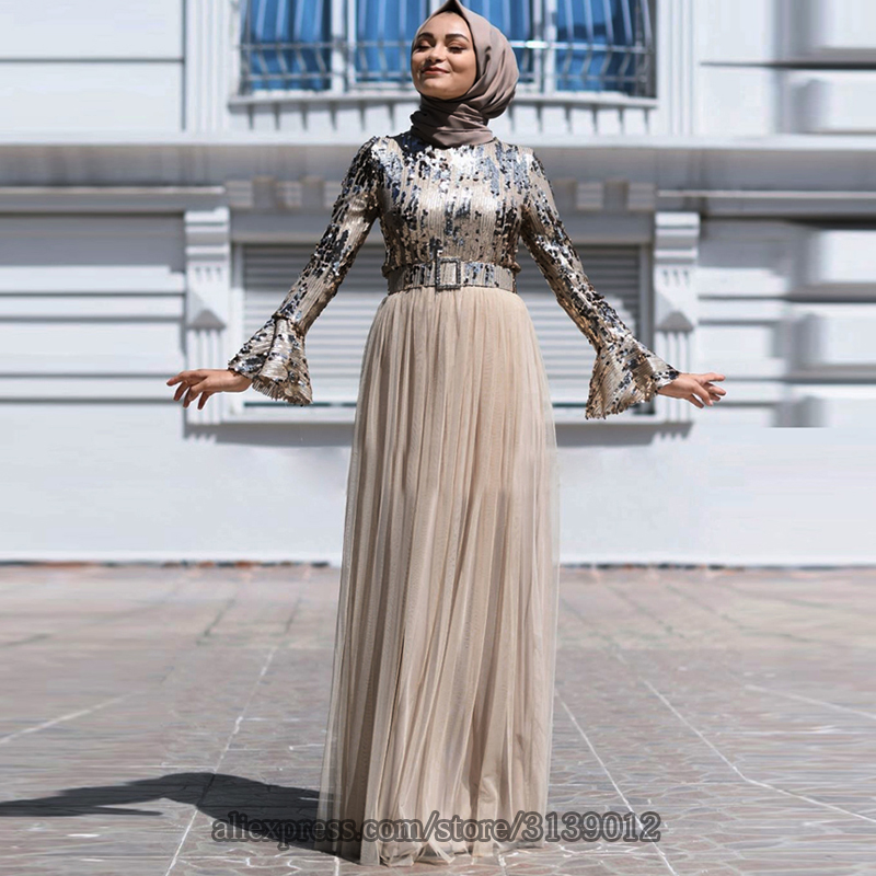 Sequin Abaya Dubai Muslim Dress Hijab Evening Dress Kaftan Caftan Turkish Dresses Robe Islam Clothing Kleding Abayas For Women