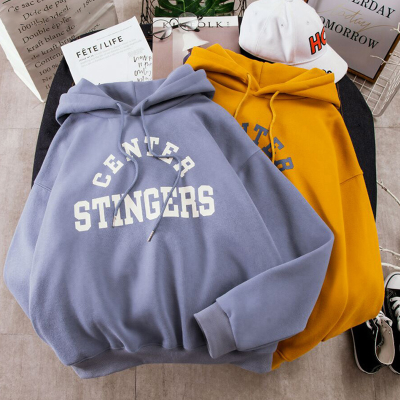 Large Size Hoodies Women Leisure Letter Printed Long Sleeve Hooded Womens Pullover Soft Cotton Korean Style Ladies Sweatshirts