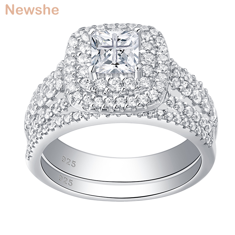 Newshe 925 Sterling Silver Halo Wedding Ring Set For Women Elegant Jewelry Princess Cross Cut Cubic Zirconia Engagement Rings