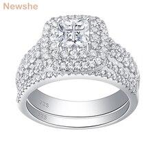 Newshe 925 ayar gümüş Halo alyans seti kadınlar için zarif takı prenses çapraz kesim kübik zirkonya alyans