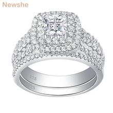 Newshe 925 فضة هالو خاتم الزواج مجموعة للنساء مجوهرات أنيقة الأميرة الصليب قطع زركون خواتم الخطبة
