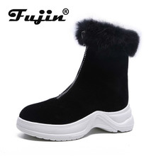 Fujin Booties Women 2019 Autumn and Winter New England Wind Chelsea Boots  Thick Bottomed Color Flat Snow Warm