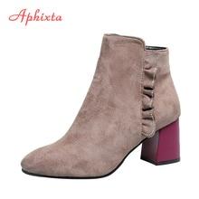 Aphixta Bordered Women Ankle Boots 5.5cm High Heels Ladies Shoes Warm Autumn Winter Zipper Boots Mixed Colors Square Heel Shoes цена в Москве и Питере