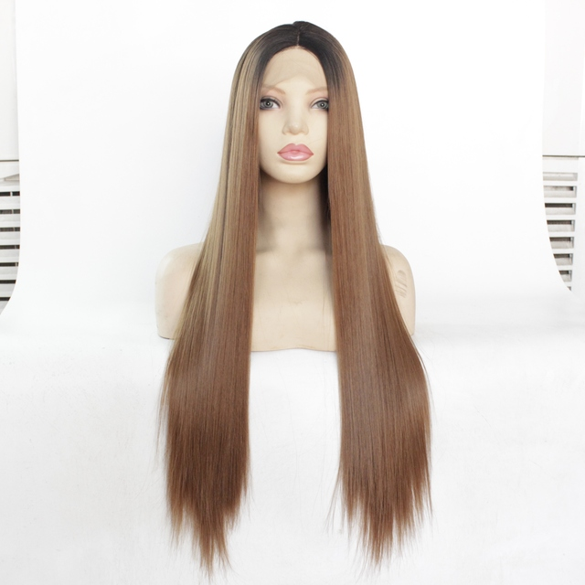 """MRWIG  12 28"""" Natural Straight Synthetic Hair High Temperature Fiber Heat Resistant Glueless Front Lace Wig Middle Part"""