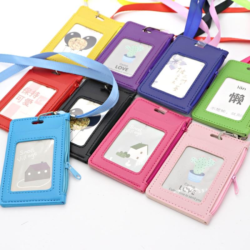 Simple Student Kids Lanyard Card Holder Slim Wallet Boys Pu Id Certificate Bus Door Credit Card Bag for Girls Zipper Coin Purses(China)