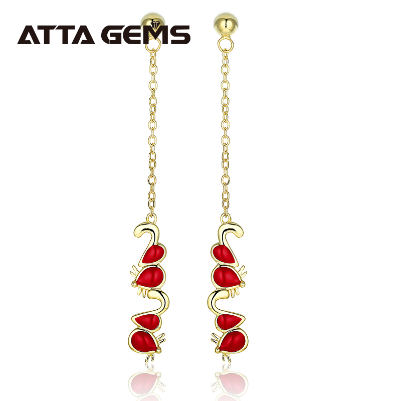 2020 New Designs Red Enamel Yellow Gold Plated Women's Sterling Silver Earring S925 Gifts for Mother's Day Special Lovely Design