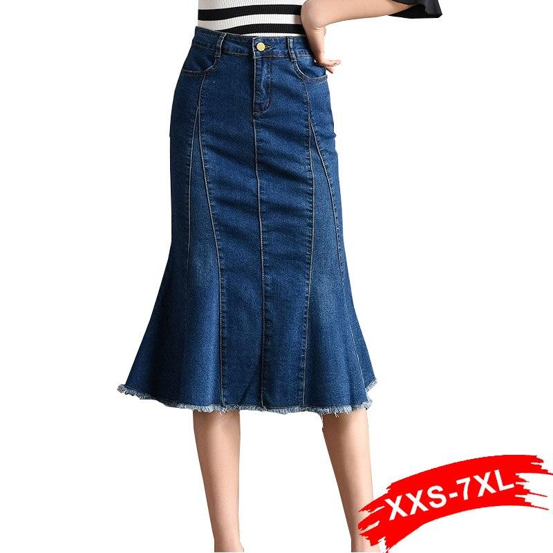 Plus Size Frayed Hem Ripped Mermaid Denim Skirts 4Xl 5Xl Large Size Women Patchworked Mid Long Flared Hem Jeans Skirts Mom Jean
