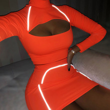 yuqung women sets 2019 New Reflective long sleeve tops and p