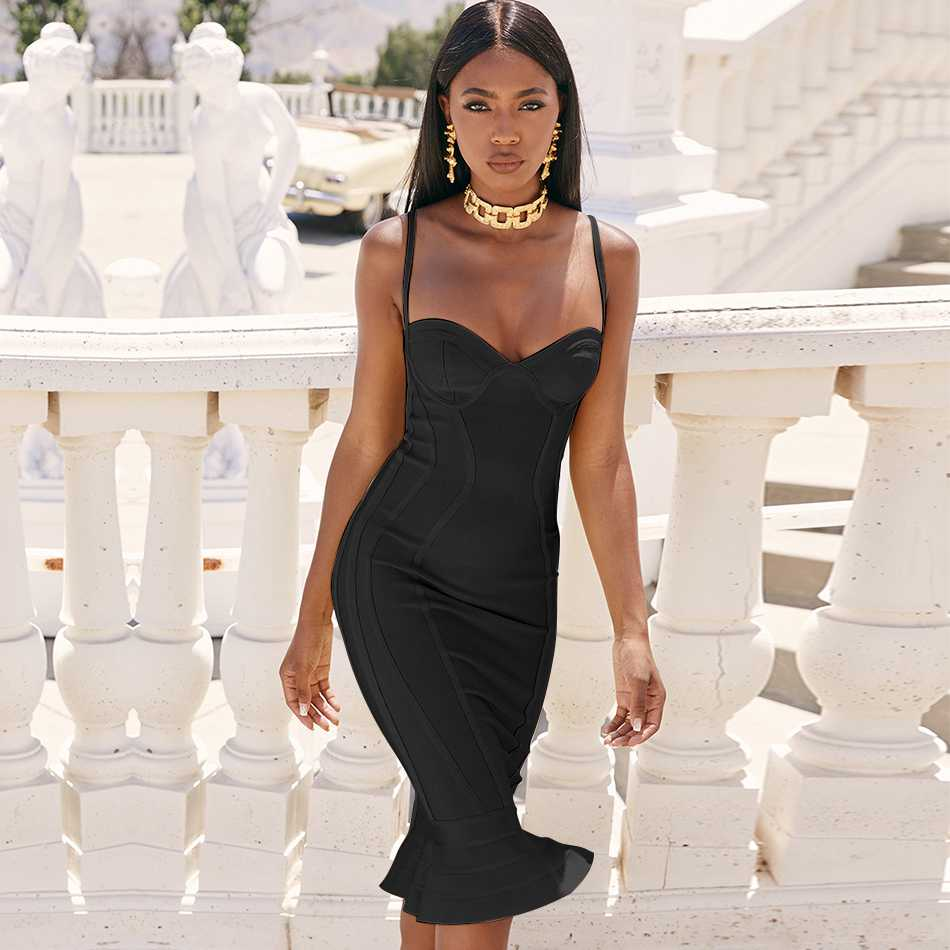 Seamyla New 2019 Women Elegant Trumpet Mermaid Evening Party Dress Long Bandage Dress Sexy Spaghetti Strap Bodycon Vestidos in Dresses from Women 39 s Clothing